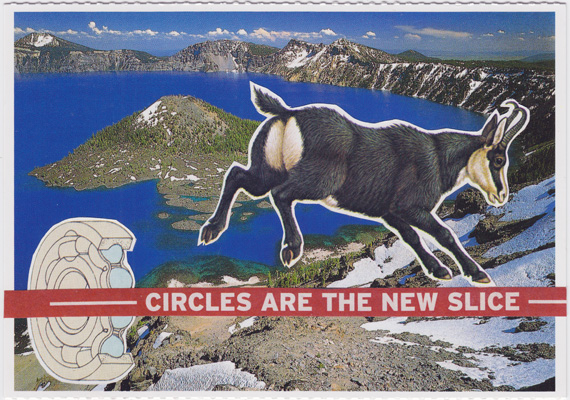 "Postcard collage: A horned mammal with prominent rear end kicks with its rear legs. The text ""circles are the new slice"" is overlaid above a cross-section of a ball bearing mechanism."