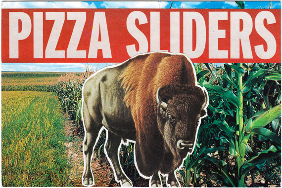 "Postcard collage: A bison stands in front of a cornfield, with text that says ""PIZZA SLIDERS"""