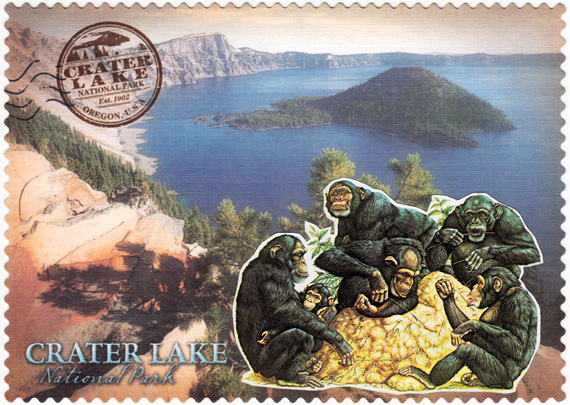 Postcard collage: A group of chimps in front of Crater Lake.