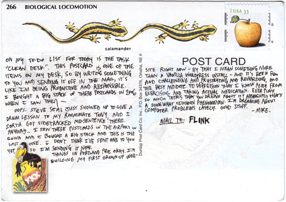Text of postcard to Flink. At the top is an illustration showing how salamanders locomote.
