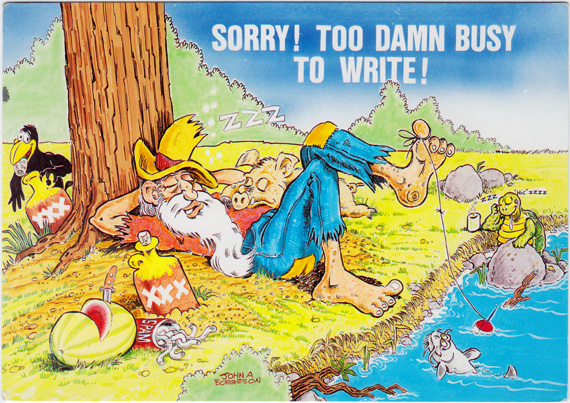 Postcard of a lazy hillbilly fishing while a crow steals his moonshine and a pig sleeps on his belly.