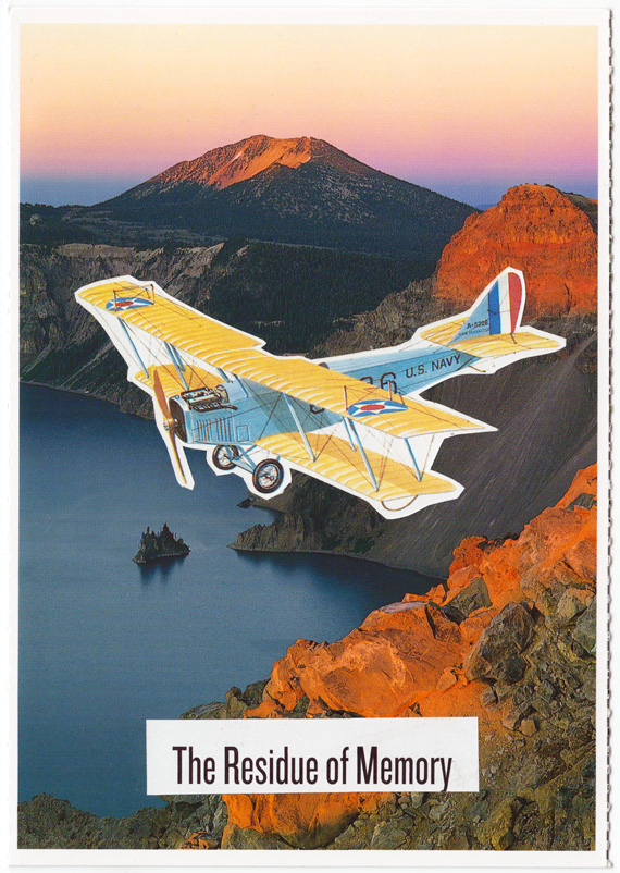 "A biplane flies over crater lake. Beneath it is the phrase ""The Residue of Memory""."