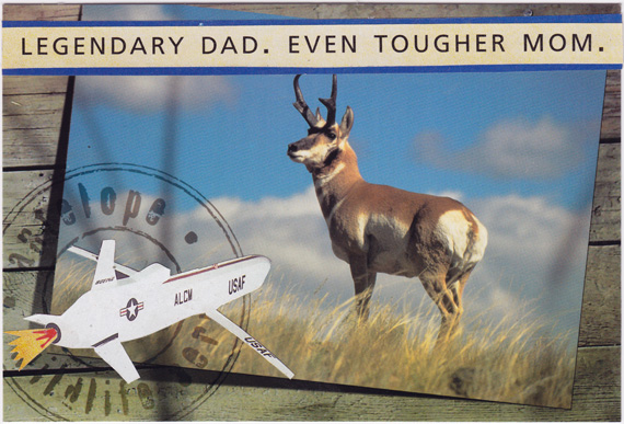 Postcard collage of a cruise missile flying toward an antelope.
