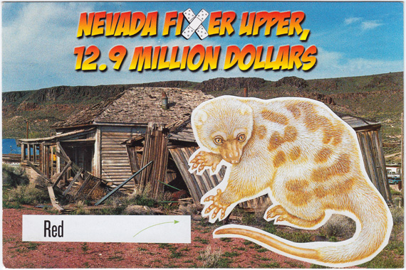 Postcard collage of a weird-looking animal in front of a derelict Nevada shack.