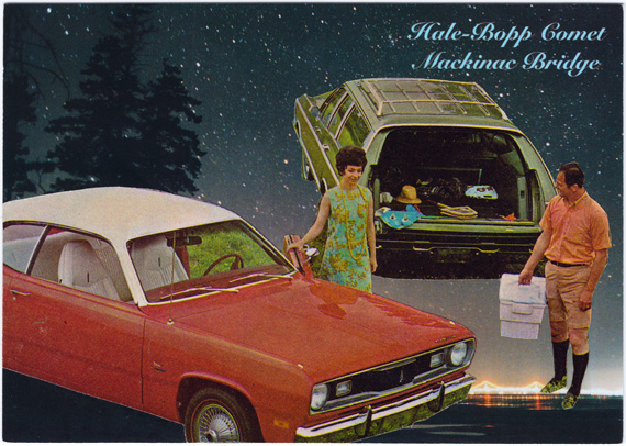 Postcard collage of a cooler-toting man standing next to a woman, standing in front of two old cars, in Michigan at night.
