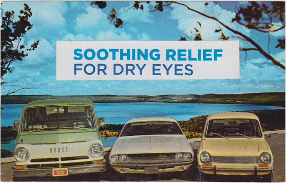 "Postcard collage of several old cars in front of a lake, parked beneath text that reads ""soothing relief for dry eyes""."