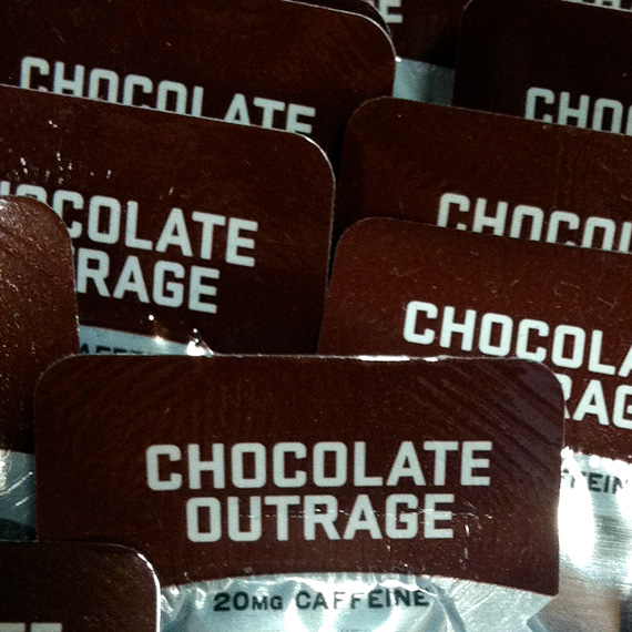 "Packages of a product called ""chocolate outrage""."