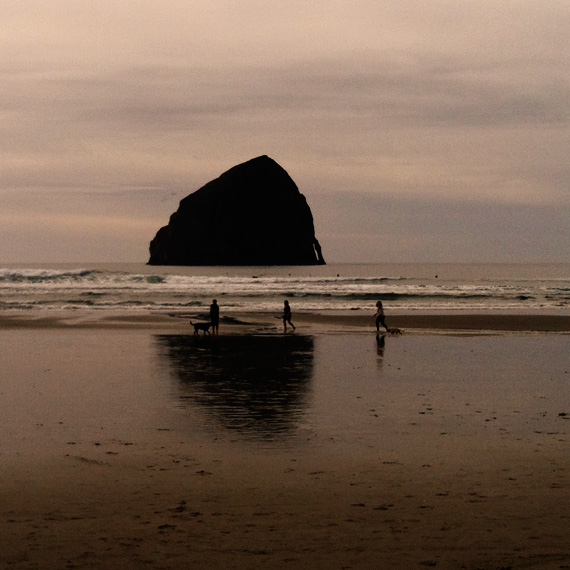 Haystack Rock, near Pacific City, seen from the beach.
