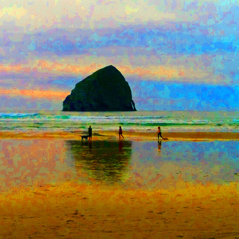 Photo of haystack rock with extreme color saturation that highlights JPEG artifacts