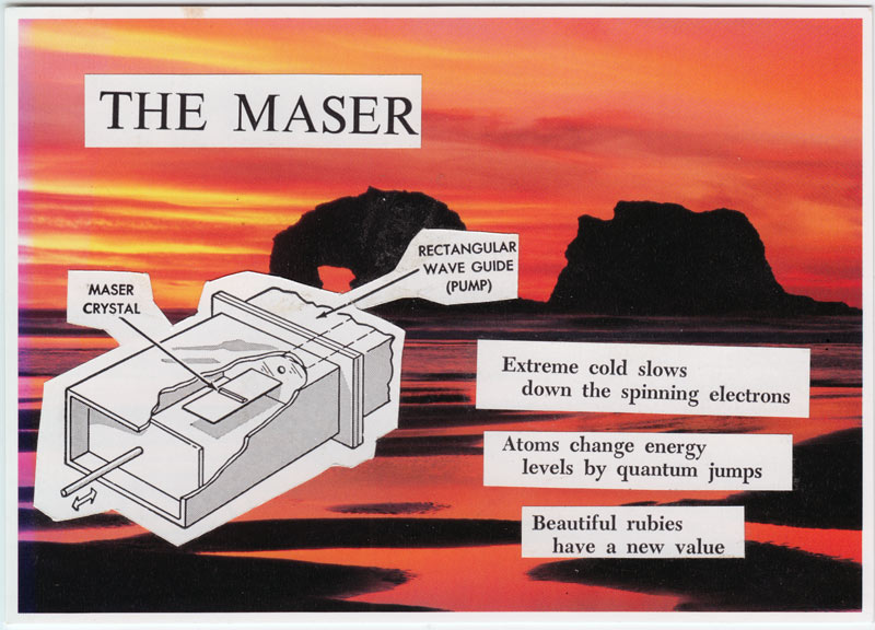 Postcard collage showing parts of a maser