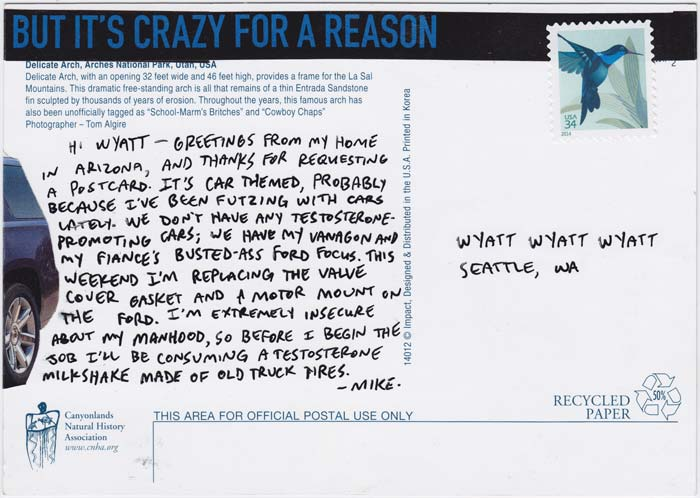 "Reverse side of postcard collage, with text that says ""But it's crazy for a reason"""