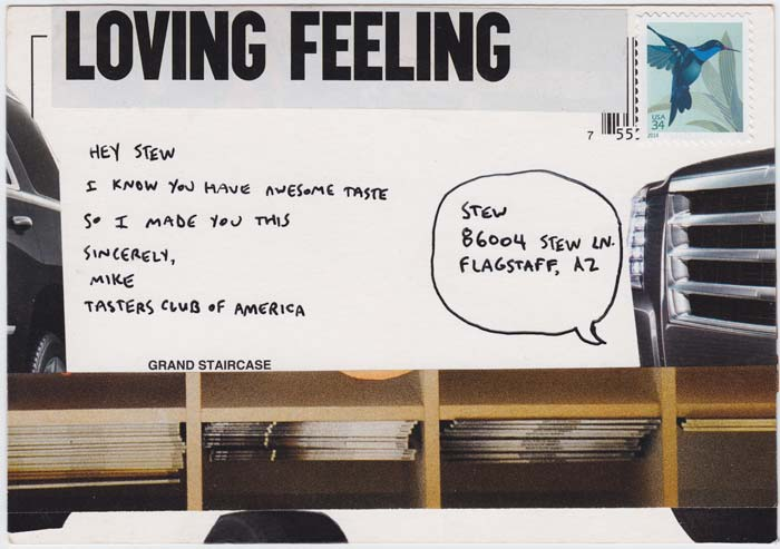 "Reverse side of ""Supertaster"" postcard collage, includes text that says ""Loving Feeling"""