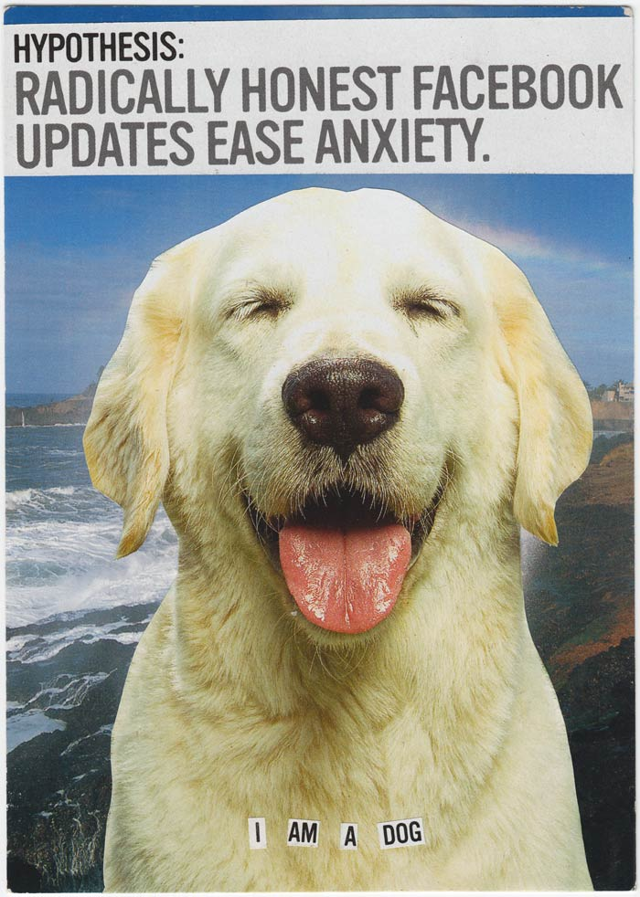 "Postcard collage of a happy dog at the coast. Big text at the top says ""Hypothesis: Radically honest Facebook posts ease anxiety."" Small text at the bottom says ""I am a dog"""