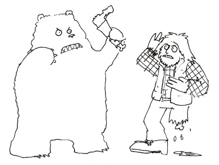 A man in a plaid shirt and vest faces off with a bear. Both are in karate poses. The man is missing a lower leg, and the bear is holding it over the man's head.