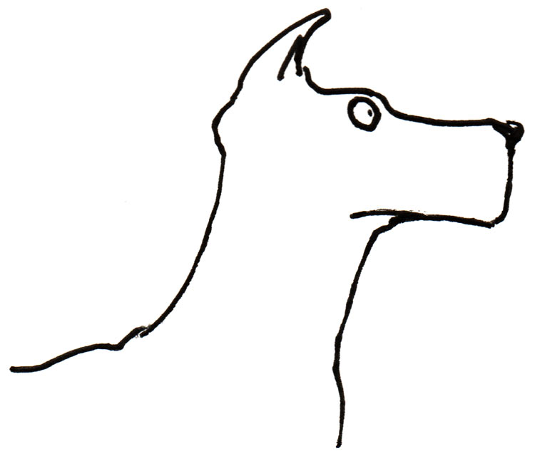 a drawing of a dog in profile