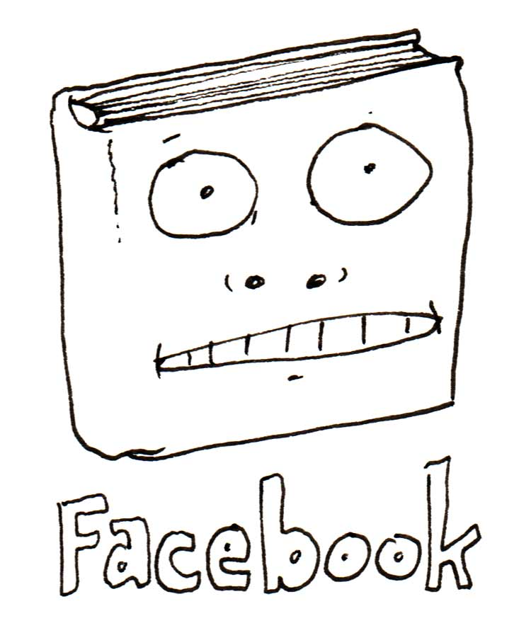 """Drawing of a book with a face on it, with the caption """"Facebook"""""""