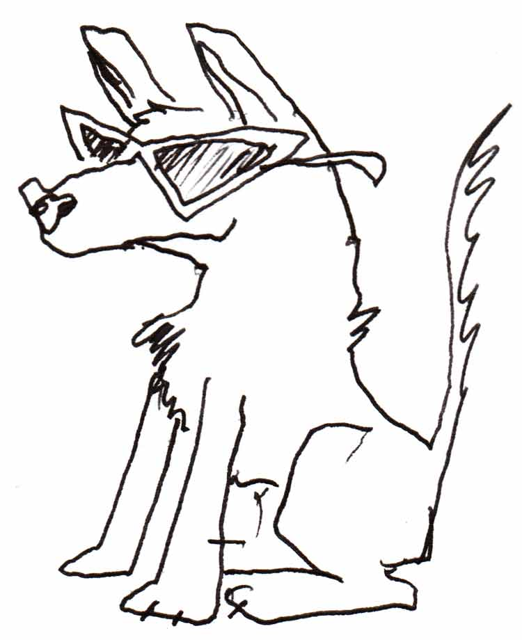 Drawing of a cool-looking dog wearing sunglasses
