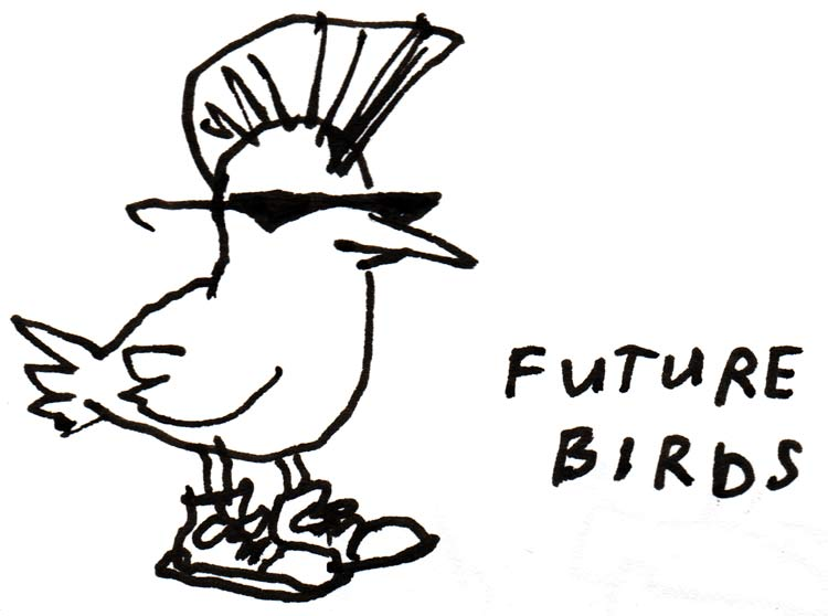 "Drawing of bird with mohawk, sunglasses, and sneakers, and text that says ""future birds"""