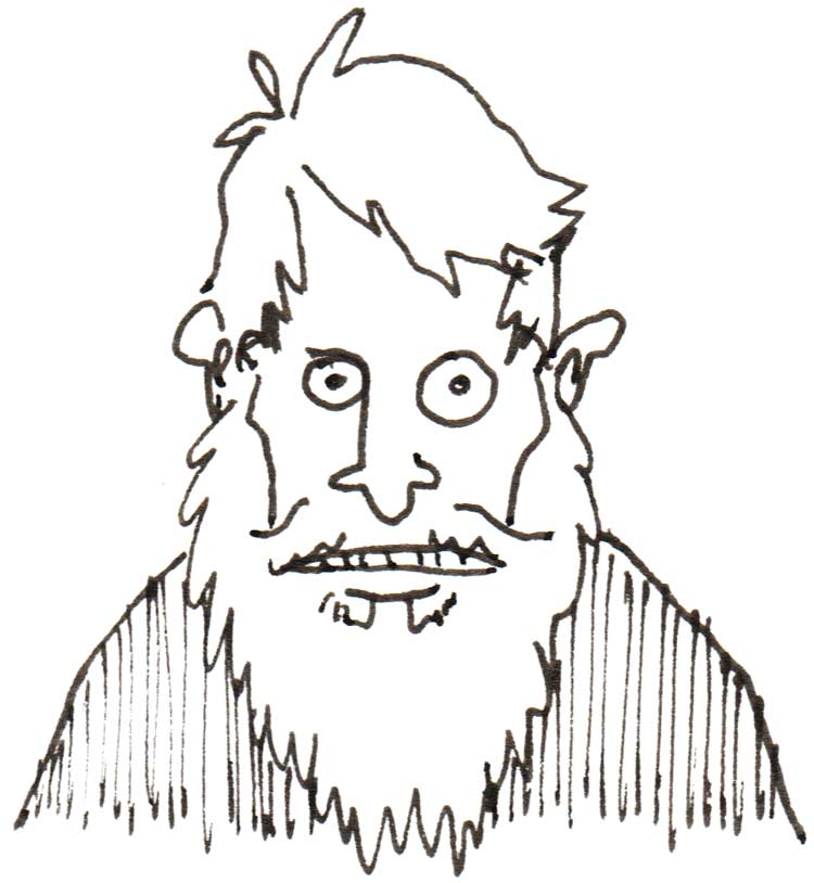 Drawing of intense looking man with beard