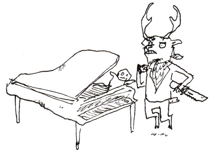 Drawing of a mule deer standing by a piano with a baby in it