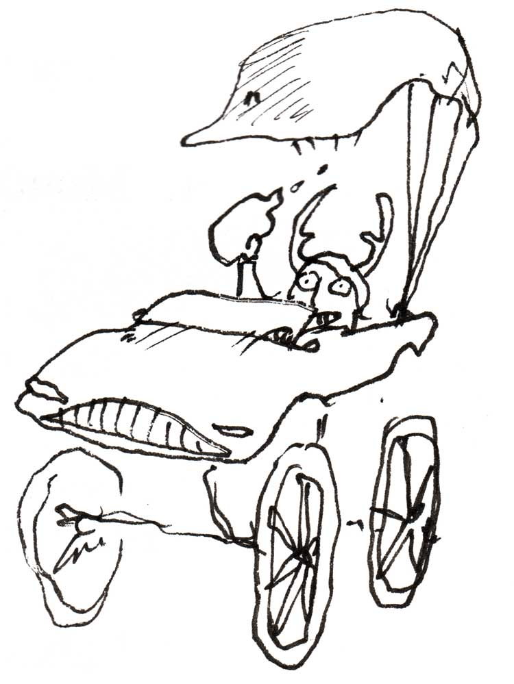 Drawing of an irresponsible Mozart in a hot-rod carriage