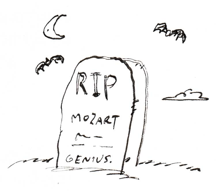 Drawing of Mozart's tombstone