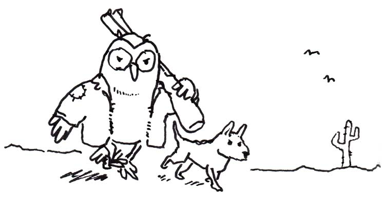 Drawing of an owl wandering through a desert wasteland with a dog, carrying a shotgun and wearing a leather jacket