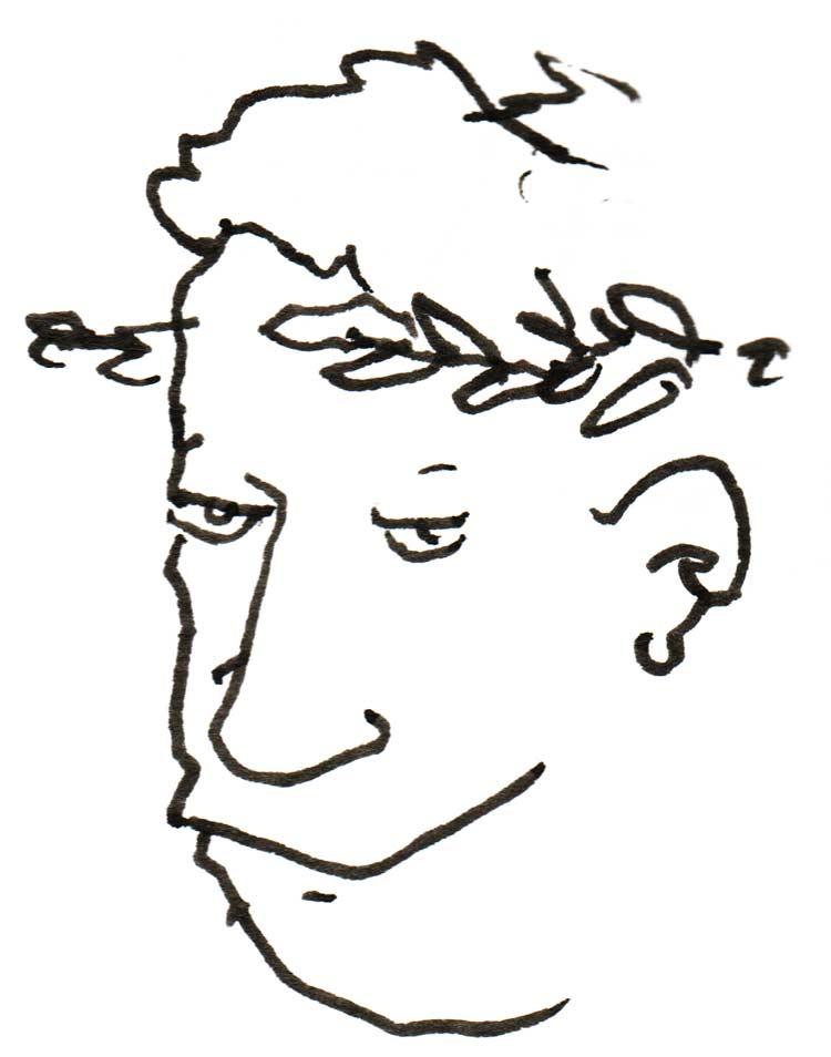 Drawing of a smug-looking man wearing laurels